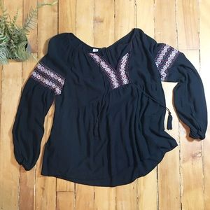 Old Navy Tops - Old Navy Boho Black Peasant Blouse